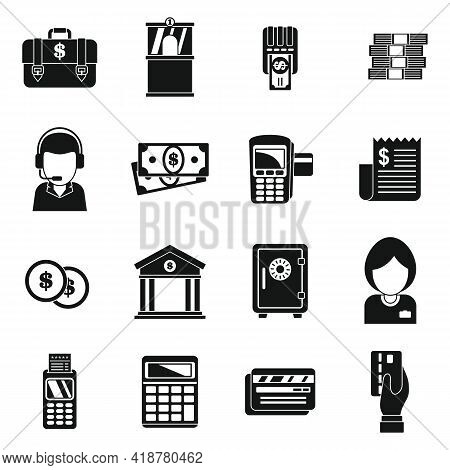 Money Bank Teller Icons Set. Simple Set Of Money Bank Teller Vector Icons For Web Design On White Ba
