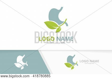 Premium Ecological Stomach Logo. Unique Gastrointestinal Tract Logotype Design.