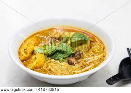 Simple And Delicious Curry Mee Or Noodle, Popular Cuisine In Malaysia