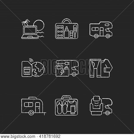 Travel Chalk White Icons Set On Black Background. Recreational Vehicle. Campground For Rv. Roadtrip