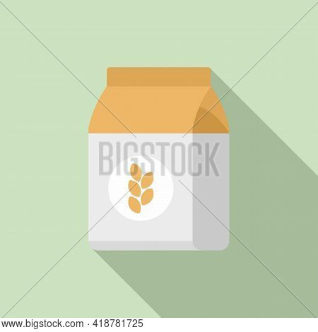 Flour Pack Icon. Flat Illustration Of Flour Pack Vector Icon For Web Design