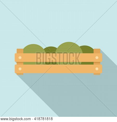 Fruits Wood Box Icon. Flat Illustration Of Fruits Wood Box Vector Icon For Web Design