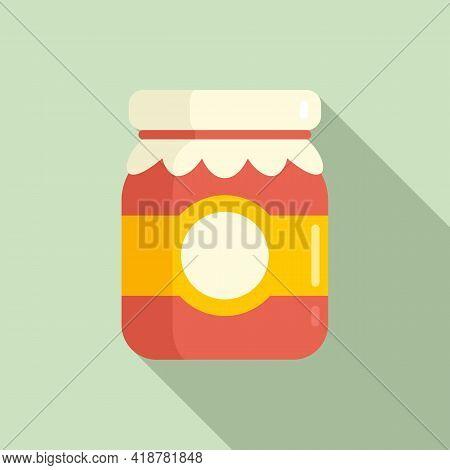 Berry Jam Jar Icon. Flat Illustration Of Berry Jam Jar Vector Icon For Web Design