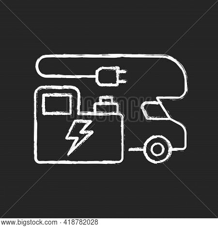 Rv Power Generators Chalk White Icon On Black Background. Electricity Supply. Portable Technology Fo