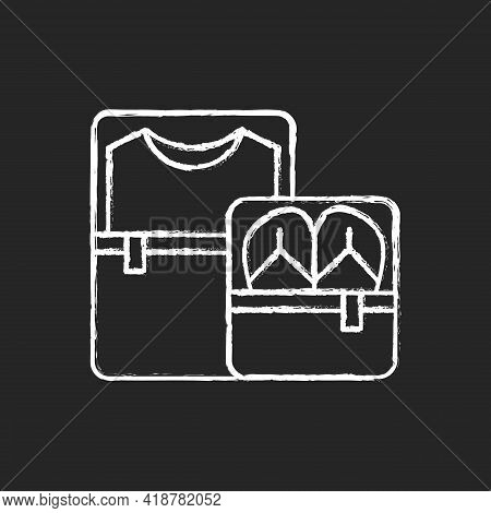 Packing Cubes Chalk White Icon On Black Background. Containers With Zippers. Pack Clothes In Luggage