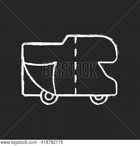 Rv Covers Chalk White Icon On Black Background. Roadtrip Gear. Trailer Service. Campground For Vans.