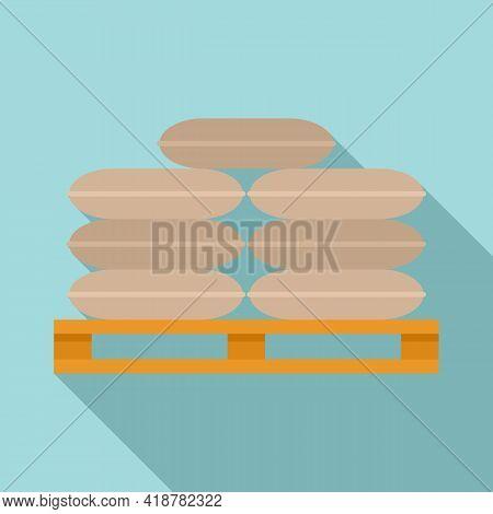 Flour Sack Pallet Icon. Flat Illustration Of Flour Sack Pallet Vector Icon For Web Design