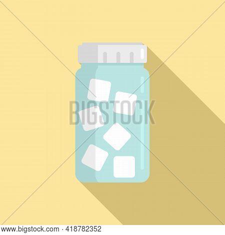 Sugar Jar Icon. Flat Illustration Of Sugar Jar Vector Icon For Web Design