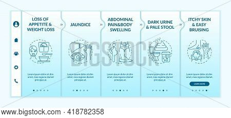 Hepatic Insufficiency Symptoms Onboarding Vector Template. Responsive Mobile Website With Icons. Web