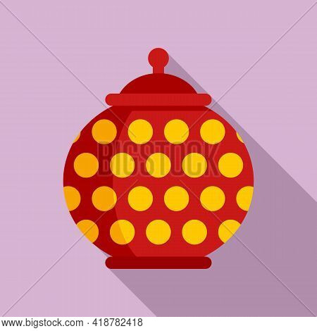 Food Ceramic Pot Icon. Flat Illustration Of Food Ceramic Pot Vector Icon For Web Design