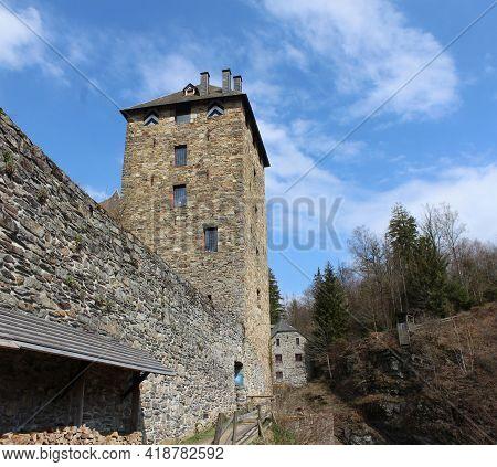 Malmedy, Belgium, 14 April 2021: Exterior View Of Reinhardstein Castle Near Malmedy In The Belgian A