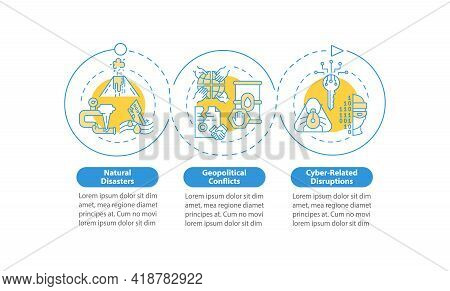 Energy Safety Risks Vector Infographic Template. Geopolitical Conflict, Viruses Presentation Design