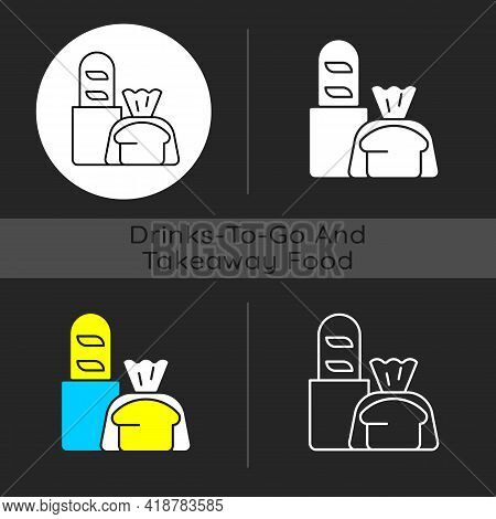 Fresh Bread Takeout Dark Theme Icon. Bakery Products. Pastries. Bread Loaves, Baguettes, Toasts. Muf