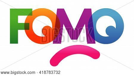 Fomo Word Vector Illustration. Joy Of Missing Out. Colored Rainbow Text. Vector Banner. Corporate Co
