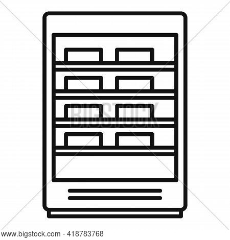 Commercial Food Fridge Icon. Outline Commercial Food Fridge Vector Icon For Web Design Isolated On W