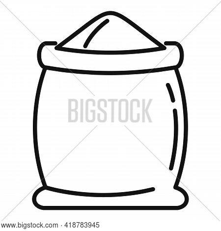 Open Flour Sack Icon. Outline Open Flour Sack Vector Icon For Web Design Isolated On White Backgroun
