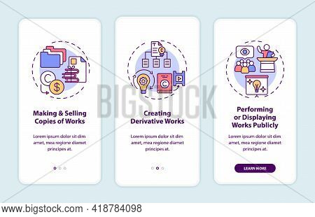 Exclusive Author Rights Onboarding Mobile App Page Screen With Concepts. Selling Works Copies Walkth