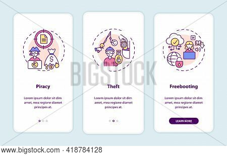 Copyright Infringement Types Onboarding Mobile App Page Screen With Concepts. Piracy, Theft Walkthro