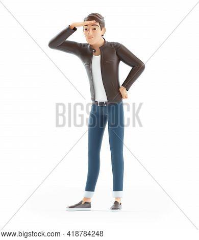 3d Cartoon Man Looking Far Ahead, Illustration Isolated On White Background