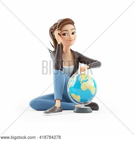 3d Cartoon Woman Sitting On Floor With Terrestrial Globe, Illustration Isolated On White Background