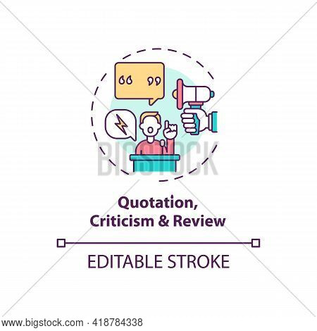 Quotation, Criticism And Review Concept Icon. Exception To Copyright Idea Thin Line Illustration. Cr