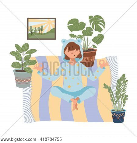 The Girl Does Yoga At Home During Quarantine. Beautiful Cartoon Illustration With Home Yoga. Health