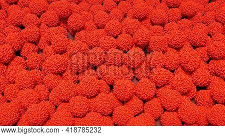 Raspberry Background. Fresh Red Berries Of Ripe Raspberries. Burgundy Background, 3d Image.