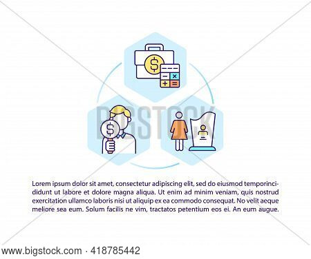 Wealth Management Concept Line Icons With Text. Ppt Page Vector Template With Copy Space. Brochure,
