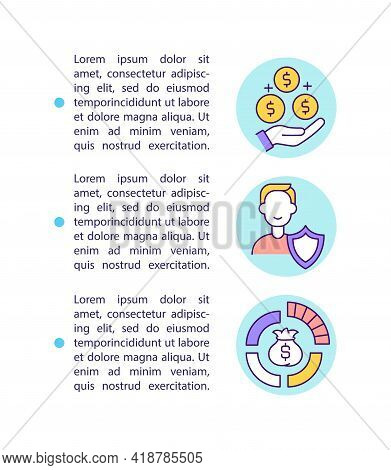 Wealth Management Benefits Concept Line Icons With Text. Ppt Page Vector Template With Copy Space. B