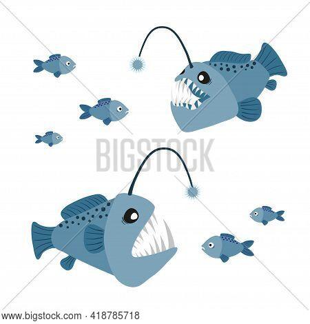 Cartoon Angler Fish Set. Vector Illustration Of Anglerfish Characters.