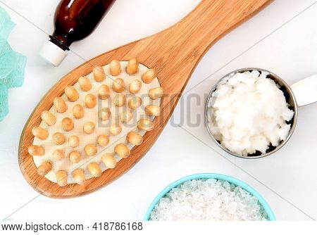 Spa And Wellness - Bath Brush, Sea Salt And Coconut Oil. Ingredients For Cellulite Massage. Flat Lay