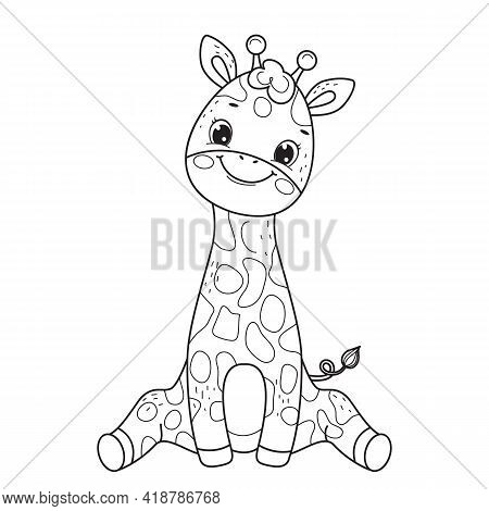 Giraffe For Coloring Book.line Art Design For Kids Coloring Page.