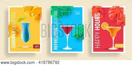Summer Sale Posters With Promo Deals For Alcohol Cocktails, Realistic 3d Illustrations, Different Sh