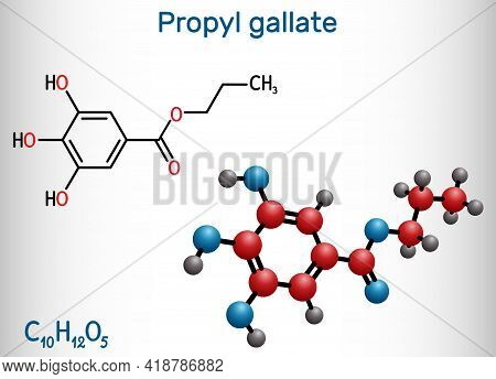 Propyl Gallate, N-propyl Gallate Molecule. It Is Antioxidant, Food Additive, E310. Structural Chemic