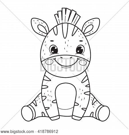 Cute Smile Zebra Kid For Coloring Book.line Art Design For Kids Coloring Page.