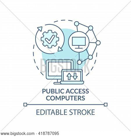 Public Access Computers Turquoise Concept Icon. Accessible Technology. Digital Inclusion Improvement