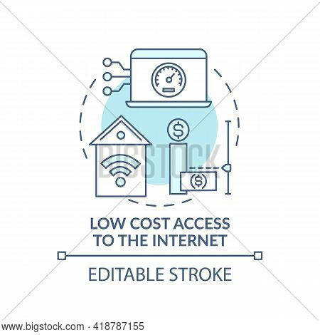 Low Cost Access To Internet Turquoise Concept Icon. Affordable Technology. Cheap Connection. Digital