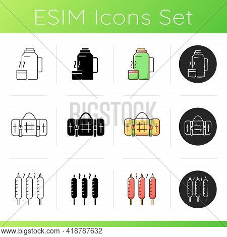 Outdoor Meal Icons Set. Vacuum Flask. Picnic Blanket. Grilled Sausages. Backpacking Trip. Sear-roast