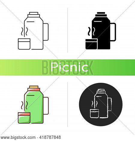 Vacuum Flask Icon. Keeping Coffee And Tea Hot. Thermos Flask. Leak-proof Mug. Heat Leaving Preventio