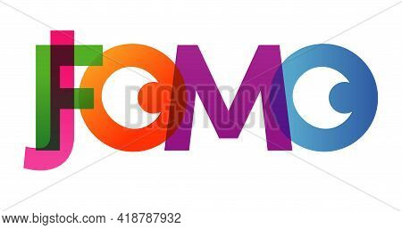 Jomo Fomo Word Vector Illustration. Joy Fear Of Missing Out. Colored Rainbow Text. Vector Banner. Co