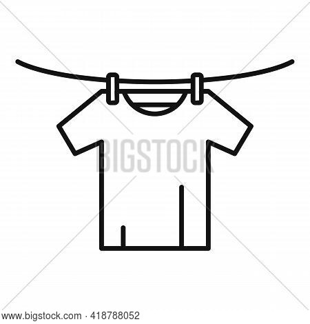 Tshirt Dry On Wire Icon. Outline Tshirt Dry On Wire Vector Icon For Web Design Isolated On White Bac
