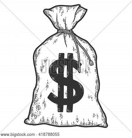 Money Bag. Sketch Scratch Board Imitation. Black And White.