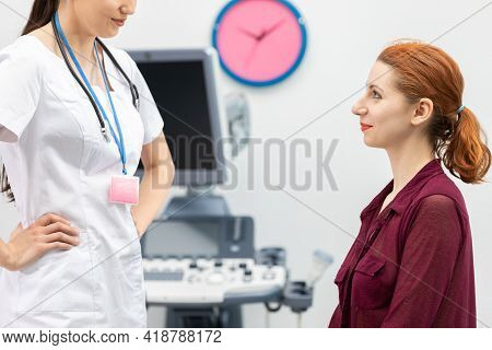 Your Doctor Talks With A Patient Before A Breast Ultrasound.