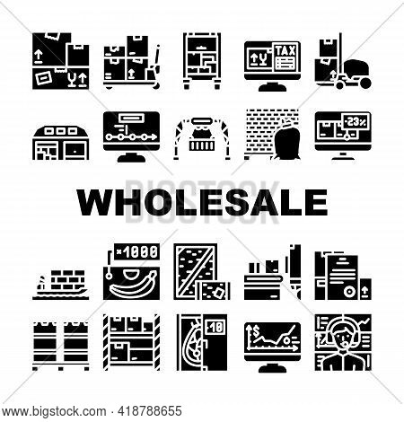 Wholesale Service Collection Icons Set Vector. Sea Transportation And Carrying In Truck, Carton And