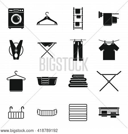 Tumble Dryer Clothes Icons Set. Simple Set Of Tumble Dryer Clothes Vector Icons For Web Design On Wh