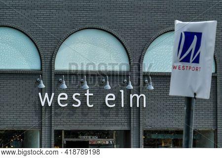 WESTPORT, CT, USA - APRIL 19, 2021:   West Elm furniture store sign