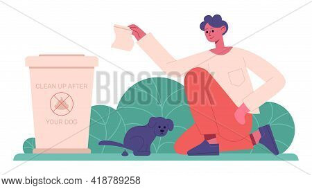 Cleaning After Dog. Pet Owner Cleaning Up After Dog, Domestic Animal Keeping. Responsible Animal Own