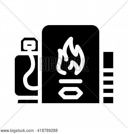 Domestic Use Biogas Glyph Icon Vector. Domestic Use Biogas Sign. Isolated Contour Symbol Black Illus