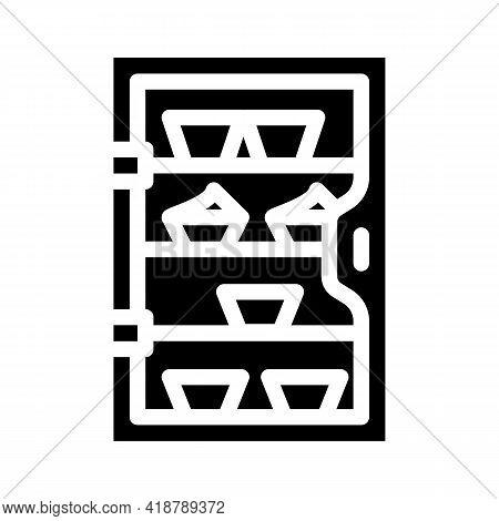 Cakes Showcase Glyph Icon Vector. Cakes Showcase Sign. Isolated Contour Symbol Black Illustration