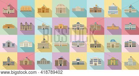 Parliament Icons Set. Flat Set Of Parliament Vector Icons For Web Design